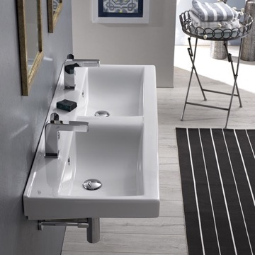 Rectangular Double White Ceramic Wall Mounted or Self-Rimming Sink
