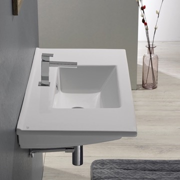 Rectangular White Ceramic Wall Mount or Drop In Bathroom Sink