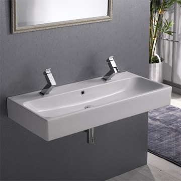 Trough Ceramic Wall Mounted or Vessel Sink