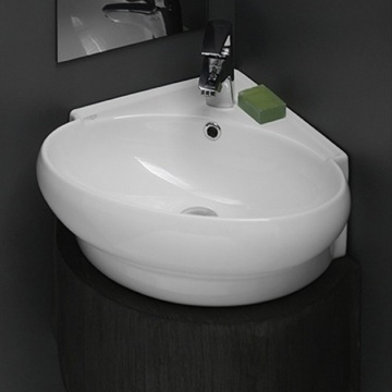Bathroom Sinks Round cerastyle 002000-unameek's mini round corner white ceramic
