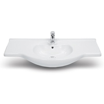 Rectangular White Ceramic Wall Mounted or Self-Rimming Bathroom Sink
