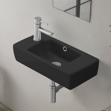 Small Matte Black Ceramic Wall Mounted or Drop In Bathroom Sink