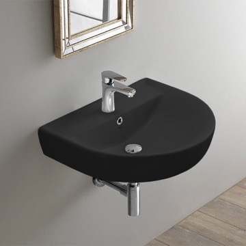 Round Matte Black Ceramic Wall Mounted Sink