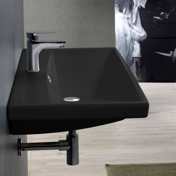 Rectangle Matte Black Ceramic Wall Mounted or Drop In Sink
