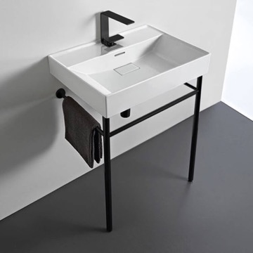 Rectangular White Ceramic Console Sink and Matte Black Stand