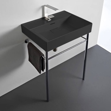 Rectangular Matte Black Ceramic Console Sink and Polished Chrome Stand