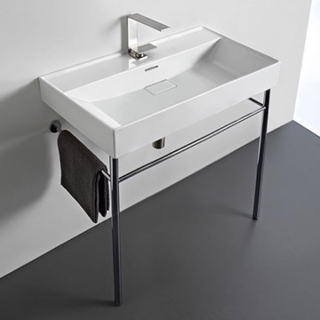 Rectangular White Ceramic Console Sink and Polished Chrome Stand