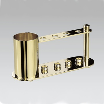 4-Hole Chrome and Gold Toothbrush Holder with Extra Container