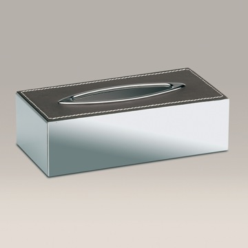 Tissue Box Cover, Contemporary, Chrome, Brass,Leather, Windisch Brown Leather, Windisch 87121RD