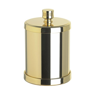 Rounded Cotton Pads Jar in Satin Chrome, Satin Gold
