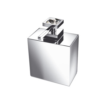 Square Brass Soap Dispenser with White Swarovski Crystal on Top