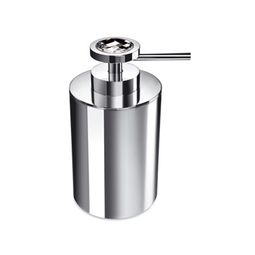 Round Brass Soap Dispenser With White Swarovski Crystal