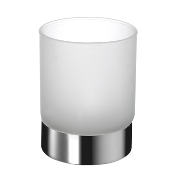 Round Frosted Crystal Glass Bathroom Tumbler