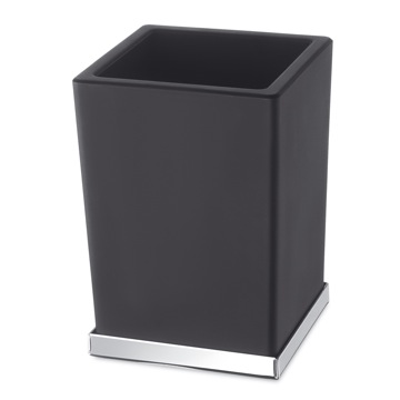 Black or White Frosted Glass Bathroom Tumbler with Chrome