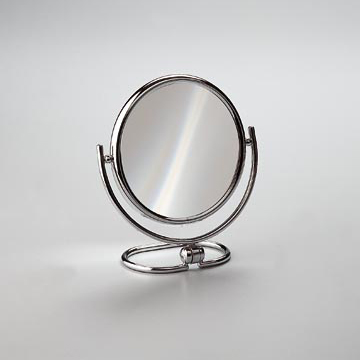 Makeup Mirror Chrome and Gold Brass Double Face 3x or 5x Magnifying Mirror 99122D Windisch 99122D