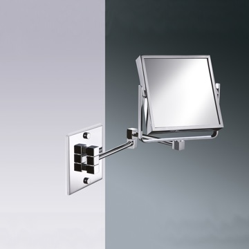 Square Wall Mounted Brass Double Face 3x or 5x Magnifying Mirror
