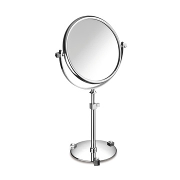 Chrome or Gold Pedestal Double Face with White Crystals 3x or 5x Magnifying Mirror