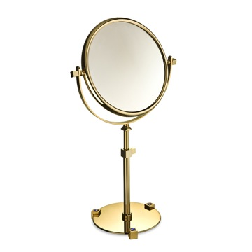 Chrome or Gold Pedestal Double Face with Blue Crystals 3x or 5x Magnifying Mirror