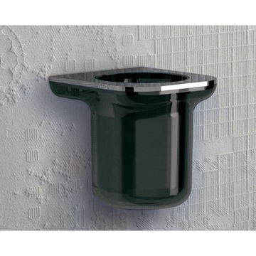 Anthracite and Chrome Round Wall Mounted Thermoplastic Resin Toothbrush Holder