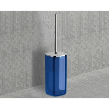 Transparent Light Blue and Chrome Square Toilet Brush Holder