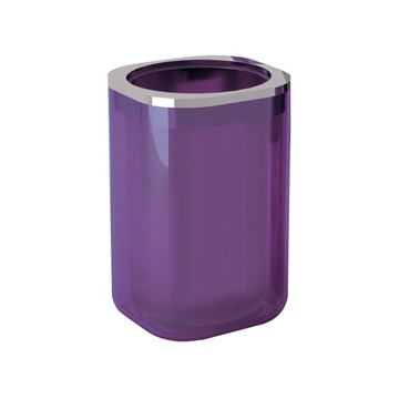 Lilac and Chrome Stylish Round Toothbrush Holder
