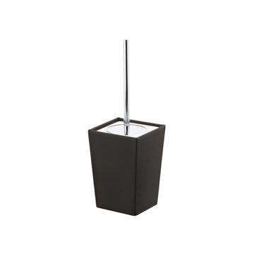 Square Wenge Faux Leather and Ceramic Toilet Brush Holder