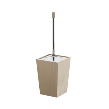 Square Faux Leather and Ceramic Toilet Brush Holder