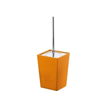 Square Orange Faux Leather and Ceramic Toilet Brush Holder
