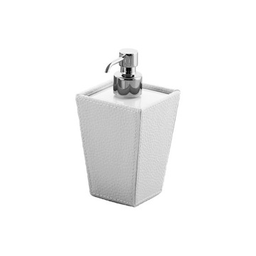 Square White Faux Leather and Ceramic Soap Dispenser