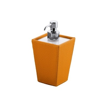 Square Orange Faux Leather and Ceramic Soap Dispenser