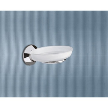 Wall Mounted Frosted Glass Soap Dish With Chrome Holder