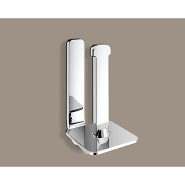 Toilet Paper Holder, Contemporary, Chrome, Brass, Gedy Outline, Gedy 3224-02-13