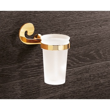 Wall Mounted Frosted Glass Toothbrush Holder With Gold Mounting