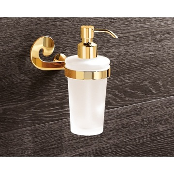 Wall Mounted Round Frosted Glass Soap Dispenser With Gold Mounting