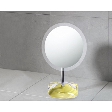 Magnifying Mirror with Round Avocado Green Colored Base