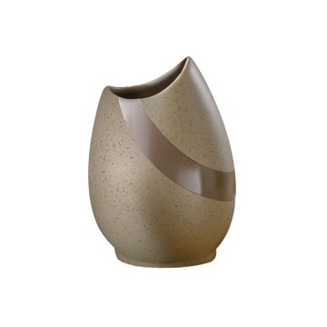 Round Beige Pottery Toothbrush Holder