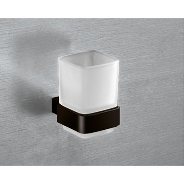Wall Mounted Frosted Glass Toothbrush Holder With Matte Black Mounting