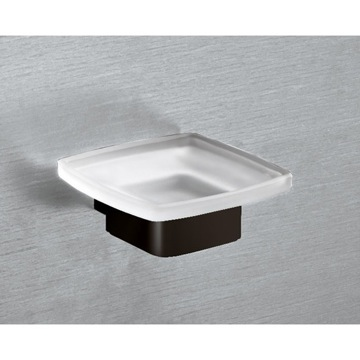 Wall Mounted Frosted Glass Soap Dish With Matte Black Base