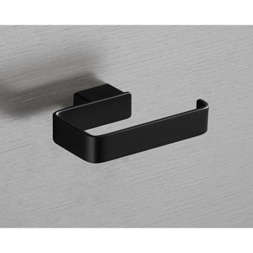 Square Matte Black Toilet Roll Holder