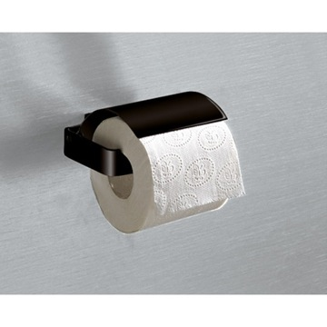 Toilet Paper Holder, Contemporary, Matte Black, Brass, Gedy Lounge, Gedy 5425-M4