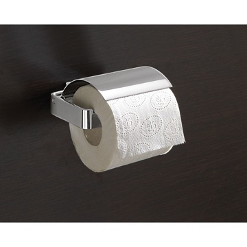 Square Polished Chrome Toilet Roll Holder With Cover