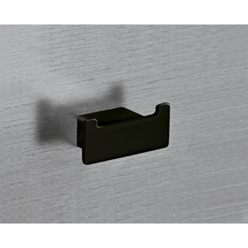 Bathroom Hook Square Matte Black Double Hook 5426-M4 Gedy 5426-M4