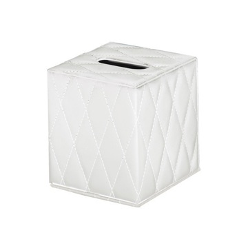 Tissue Box Cover, Contemporary, White, Faux Leather, Gedy Palace, Gedy 5902-24