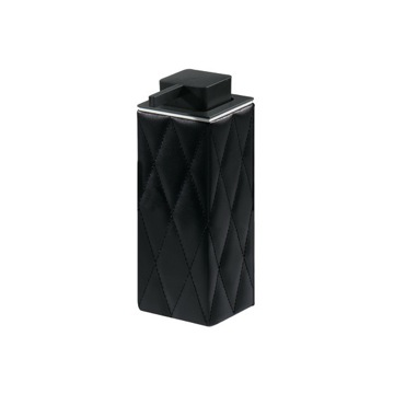 Black Tall Square Faux Leather Soap Dispenser