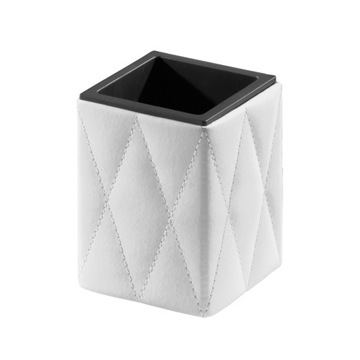 White Faux Leather Toothbrush Holder