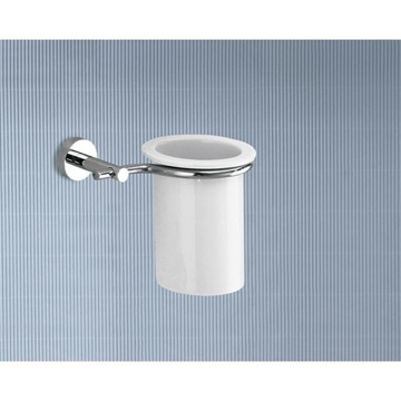 Wall Mounted Porcelain Toothbrush Holder With Chrome Mounting