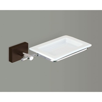 White Soap Dish with Chrome and Cherry or Washed Oak Wood Wall Mount