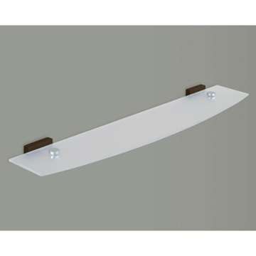 Frosted Glass Bathroom Shelf With Chrome Holder, Wood Base