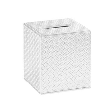 Tissue Box Cover, Contemporary, Pearl White,Old Silver, Faux Leather, Gedy Marrakech, Gedy 6702