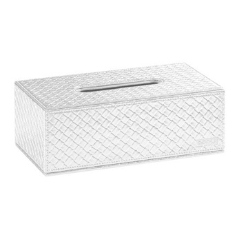 Tissue Box Cover, Contemporary, Old Silver,Gold, Faux Leather, Gedy Marrakech, Gedy 6708